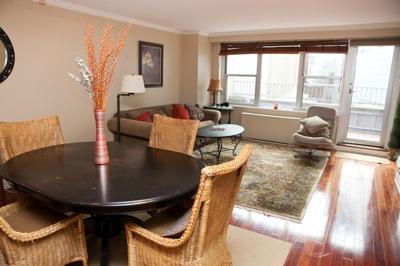 dining room, living area, large windows